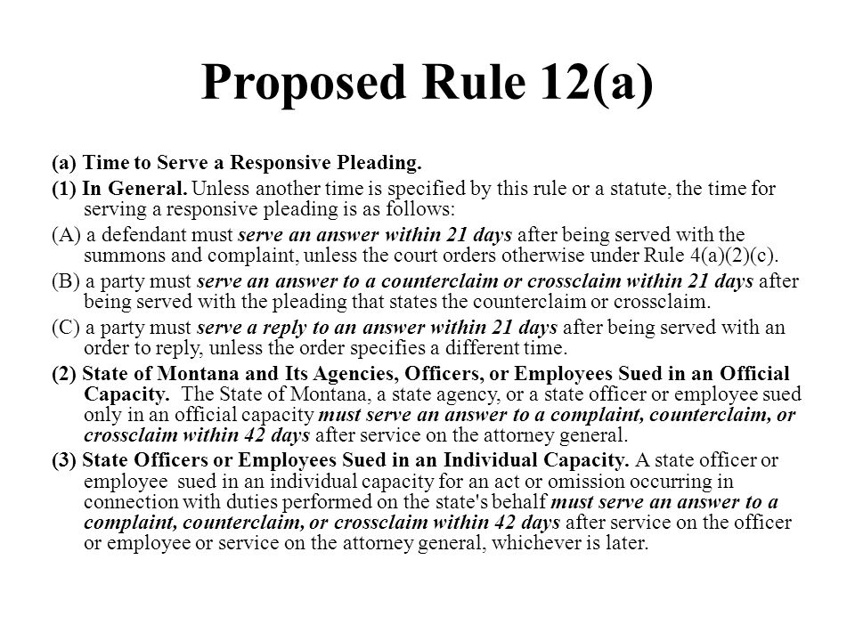 Proposed Rule 12(a)
