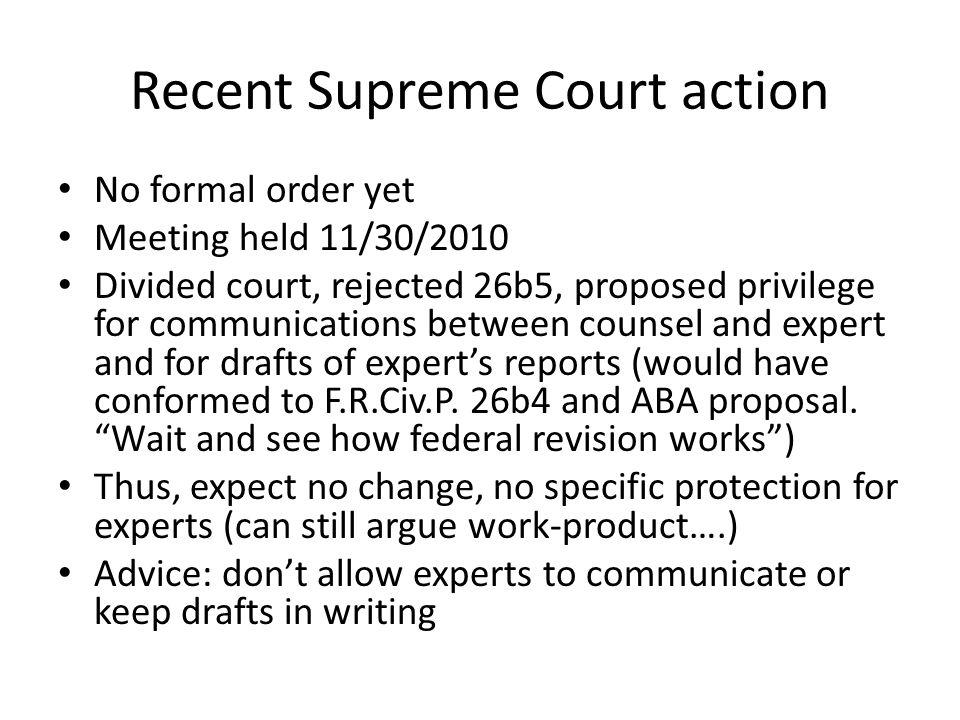 Recent Supreme Court action