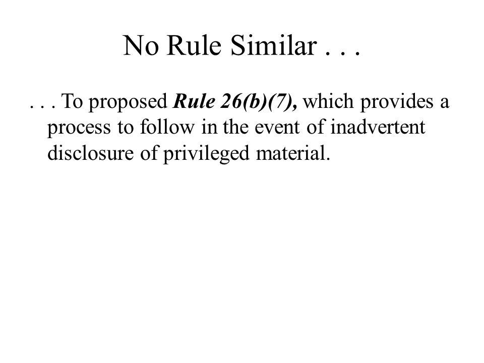 No Rule Similar . . .