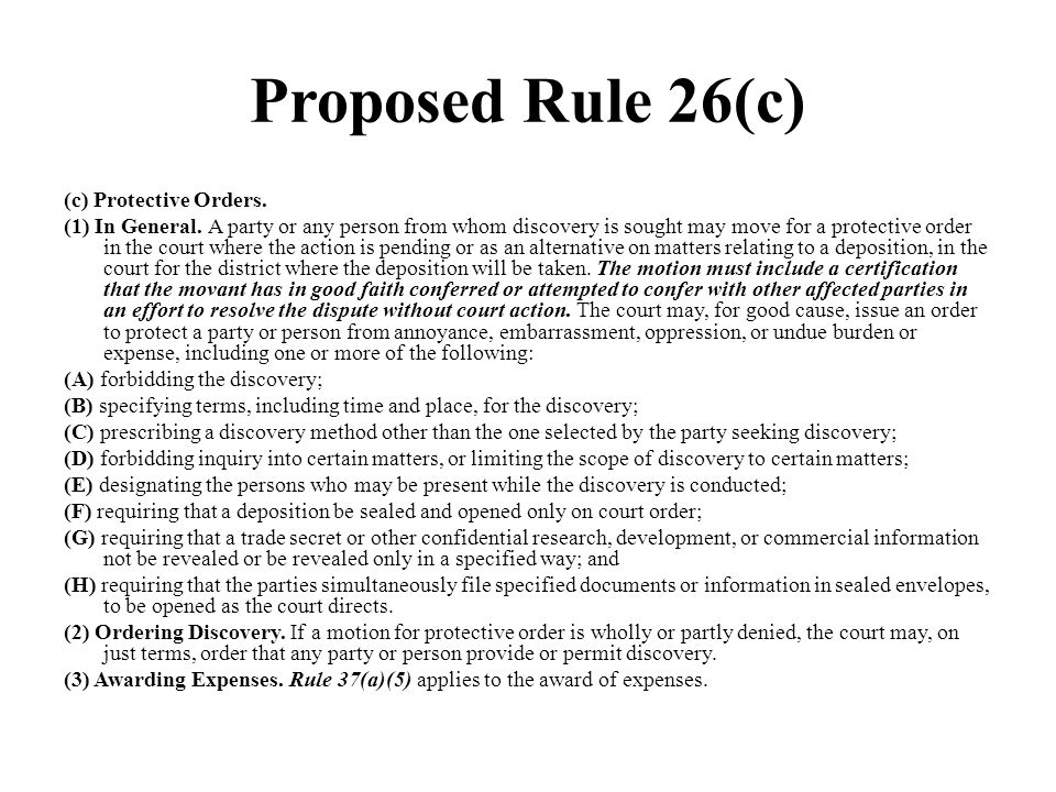 Proposed Rule 26(c)
