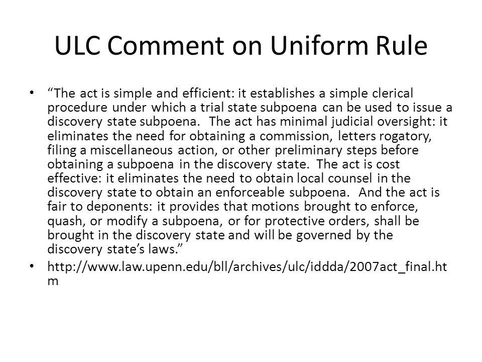 ULC Comment on Uniform Rule