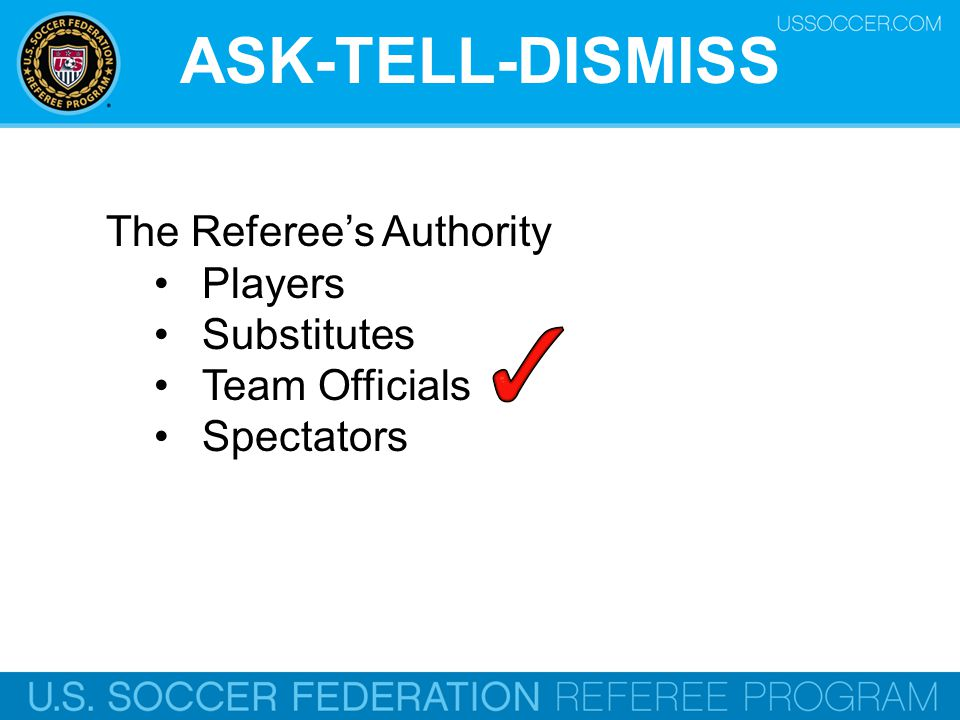 ASK-TELL-DISMISS The Referee's Authority Players Substitutes