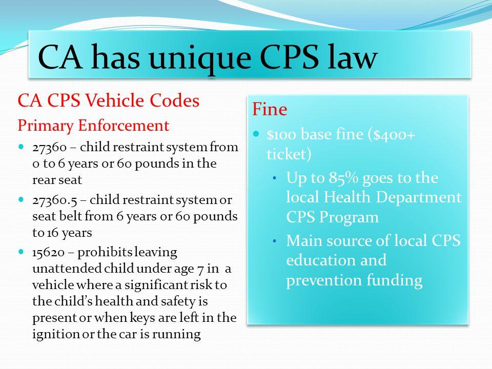 CA has unique CPS law CA CPS Vehicle Codes Fine Primary Enforcement