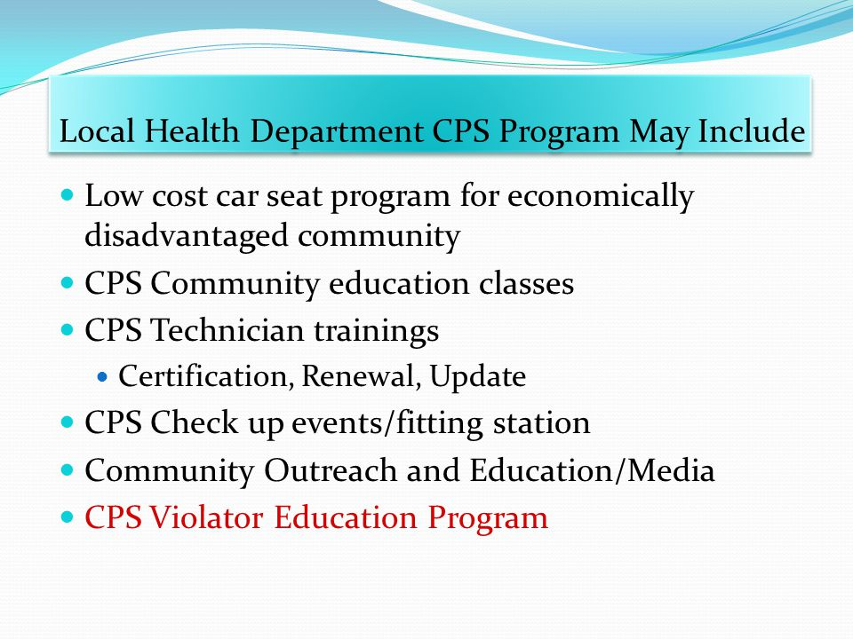 Local Health Department CPS Program May Include