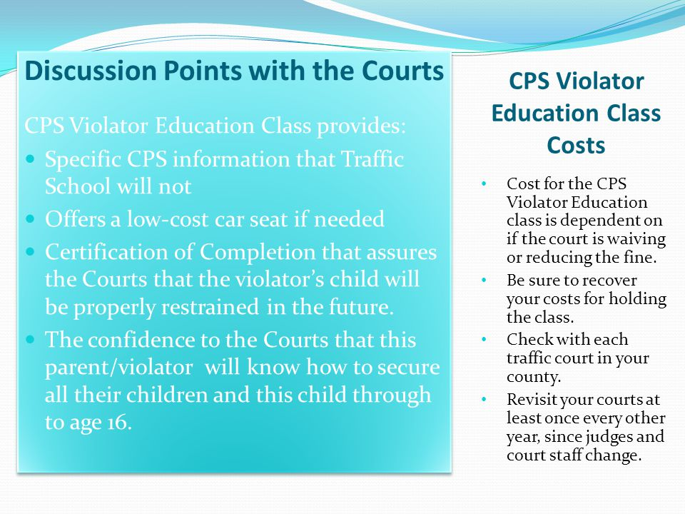 CPS Violator Education Class Costs