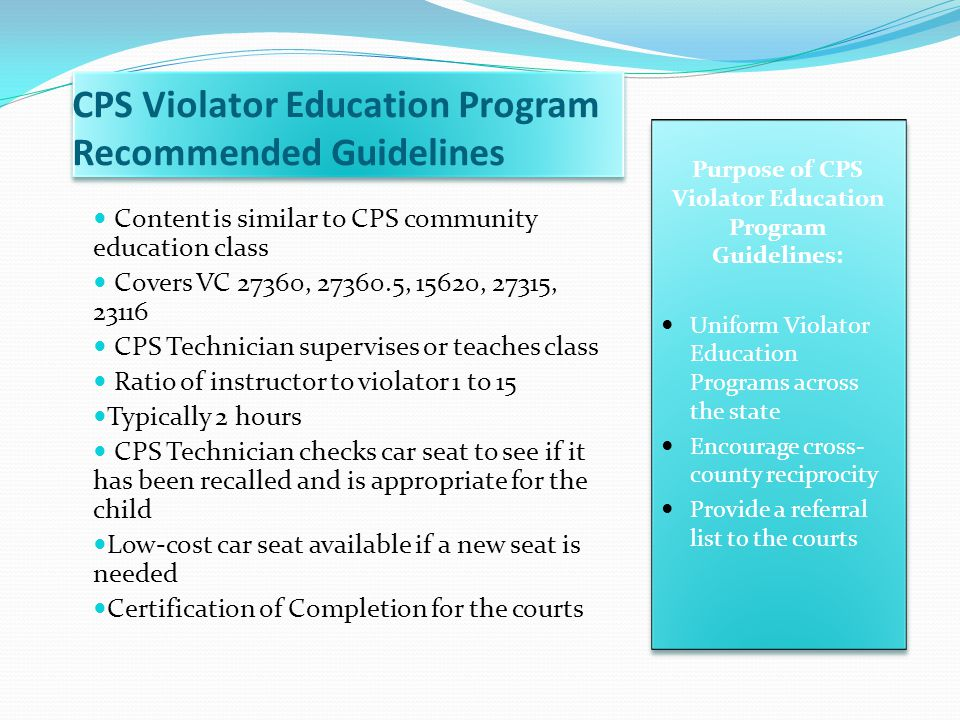 CPS Violator Education Program Recommended Guidelines
