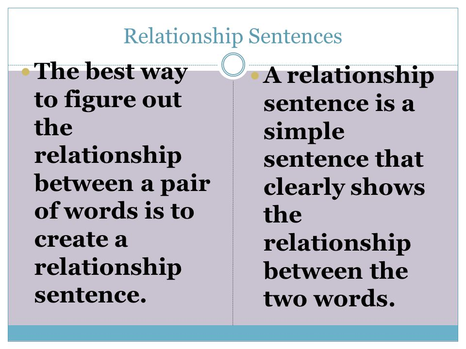relationship between words test