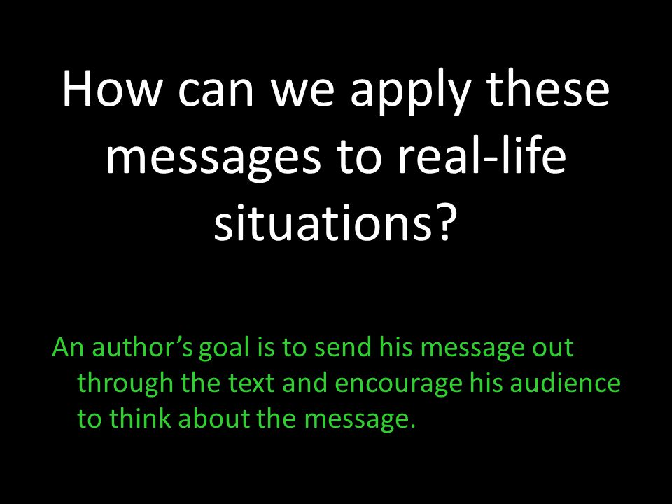 How can we apply these messages to real-life situations