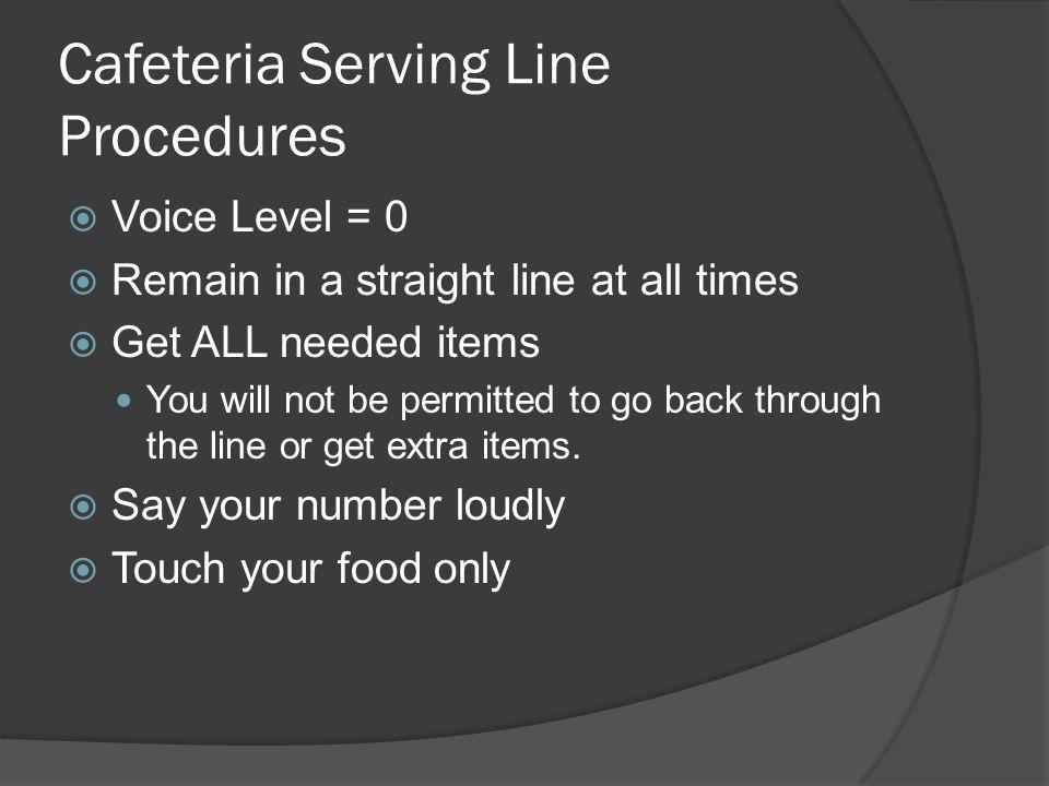 Cafeteria Serving Line Procedures
