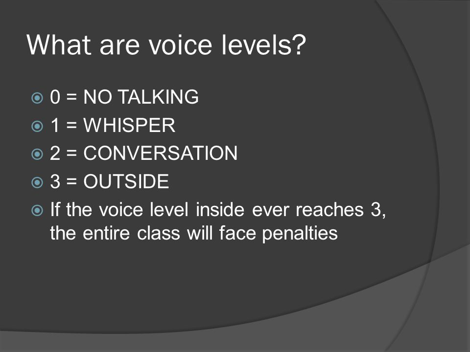 What are voice levels 0 = NO TALKING 1 = WHISPER 2 = CONVERSATION
