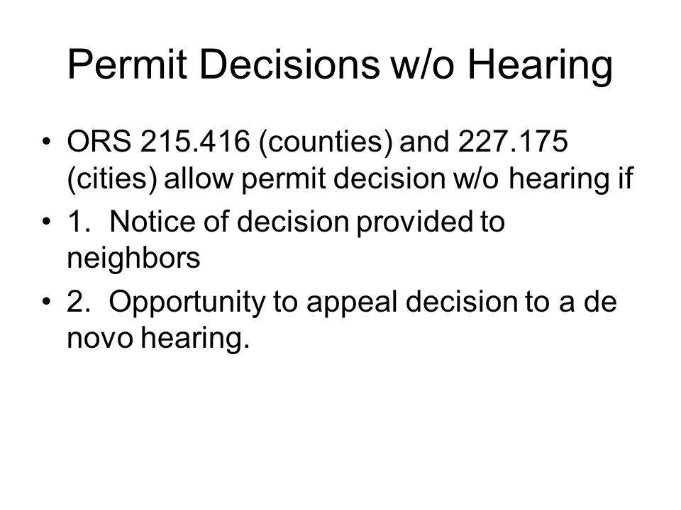 Permit Decisions w/o Hearing