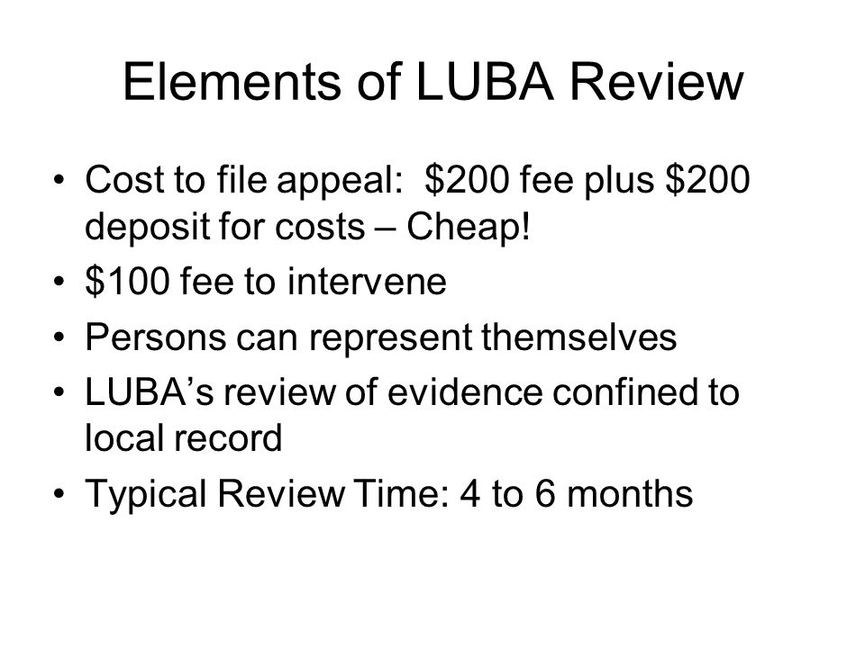 Elements of LUBA Review