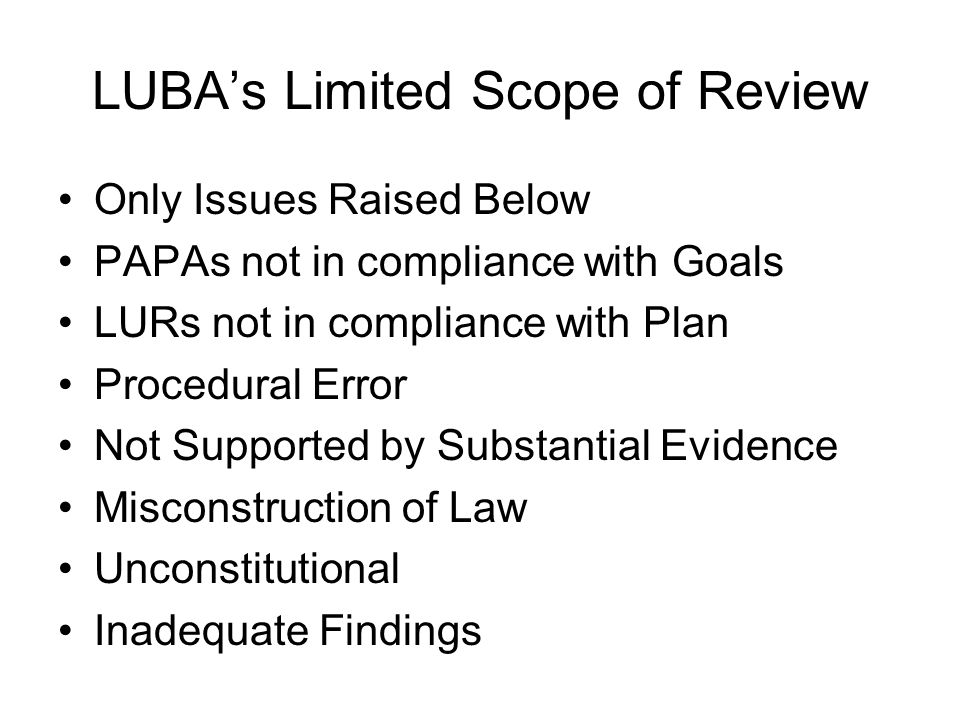LUBA's Limited Scope of Review