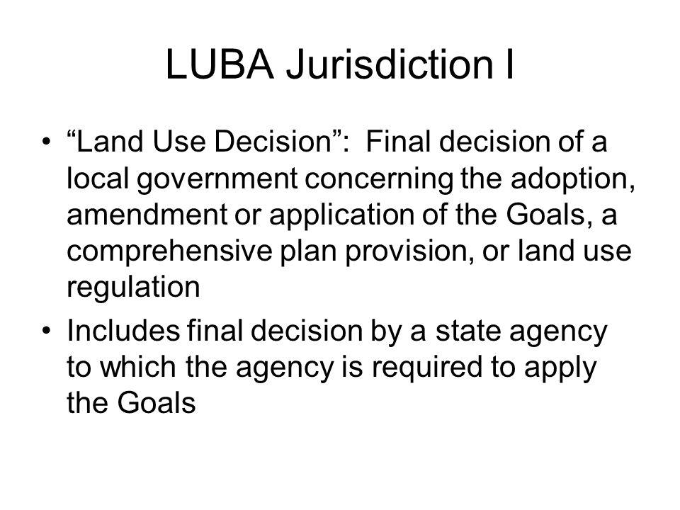 LUBA Jurisdiction I