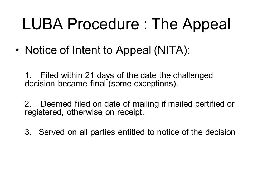 LUBA Procedure : The Appeal