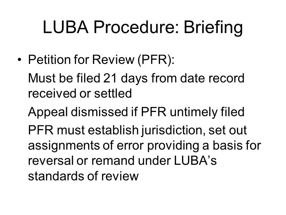 LUBA Procedure: Briefing
