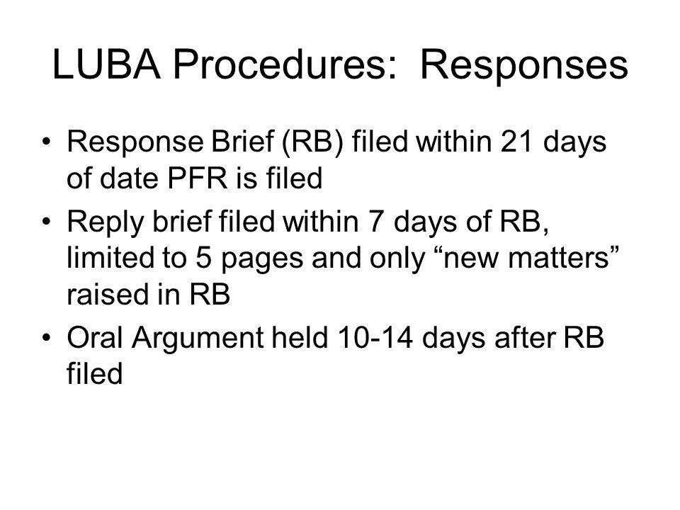 LUBA Procedures: Responses