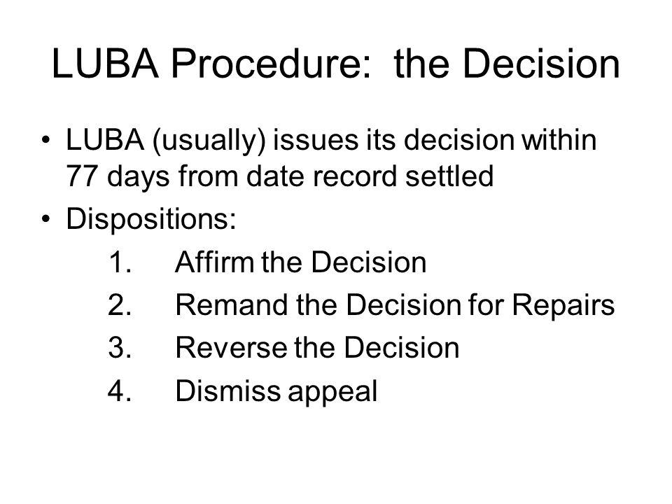 LUBA Procedure: the Decision