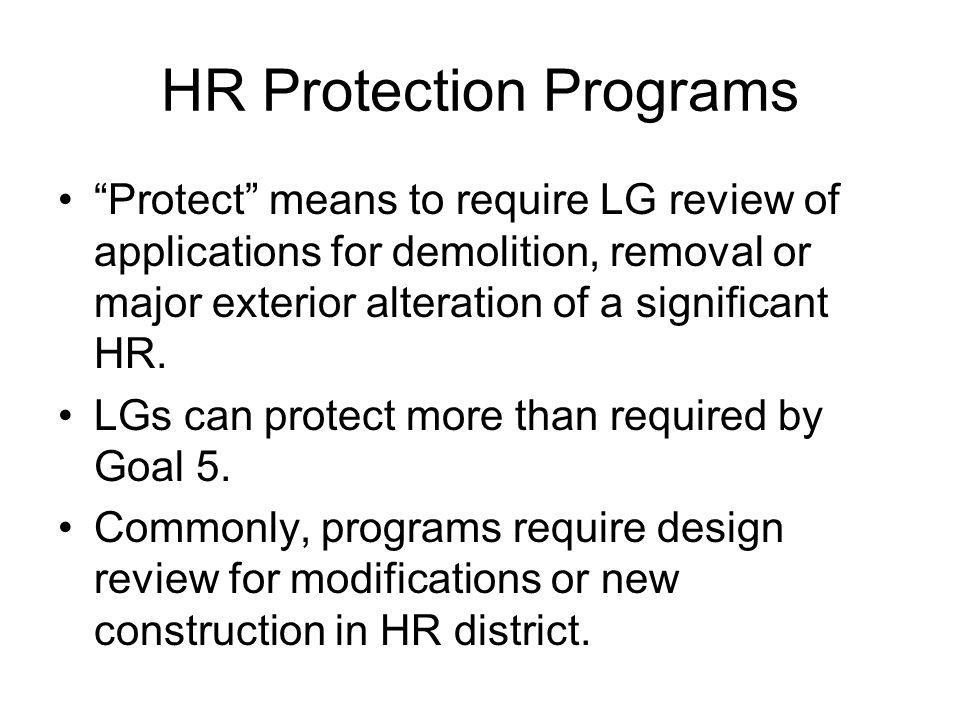 HR Protection Programs