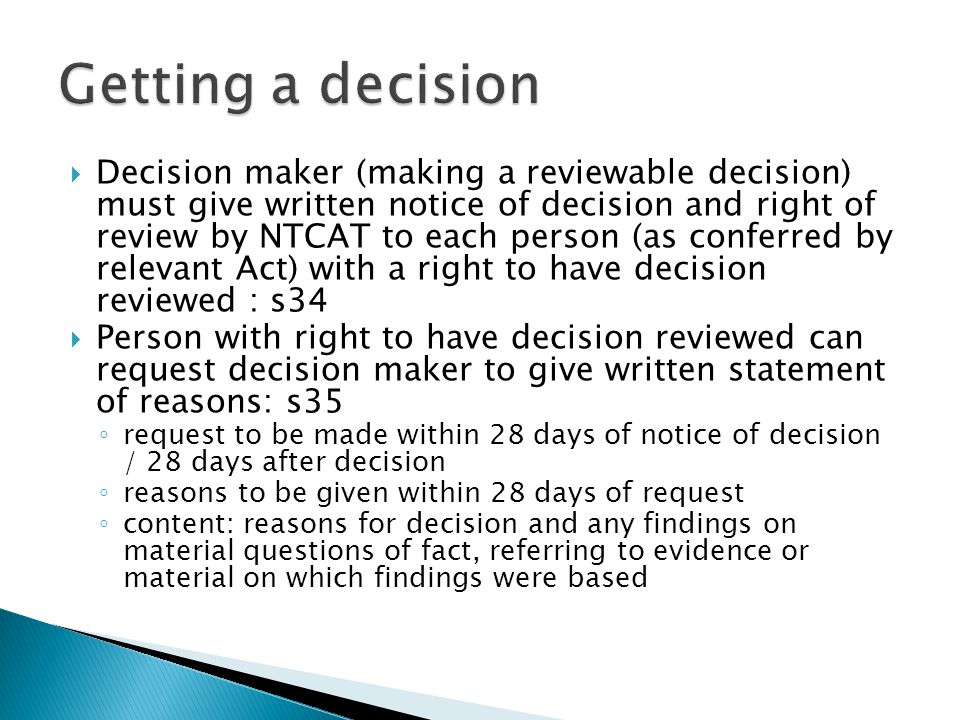 Getting a decision