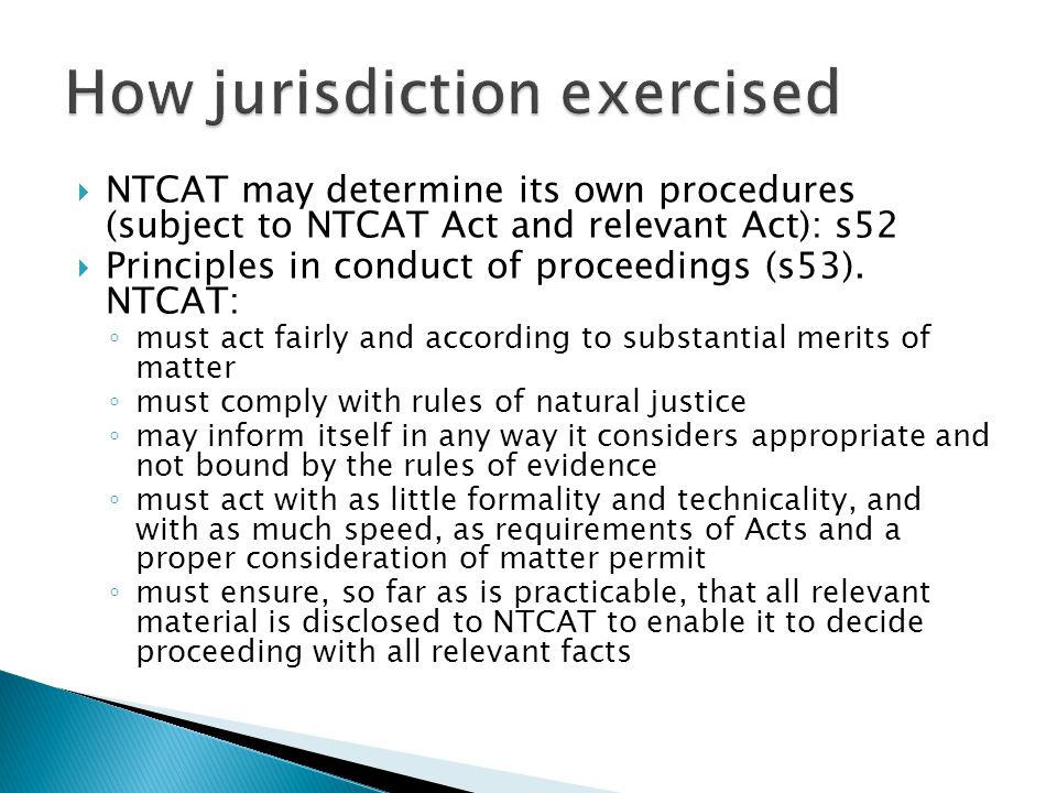 How jurisdiction exercised