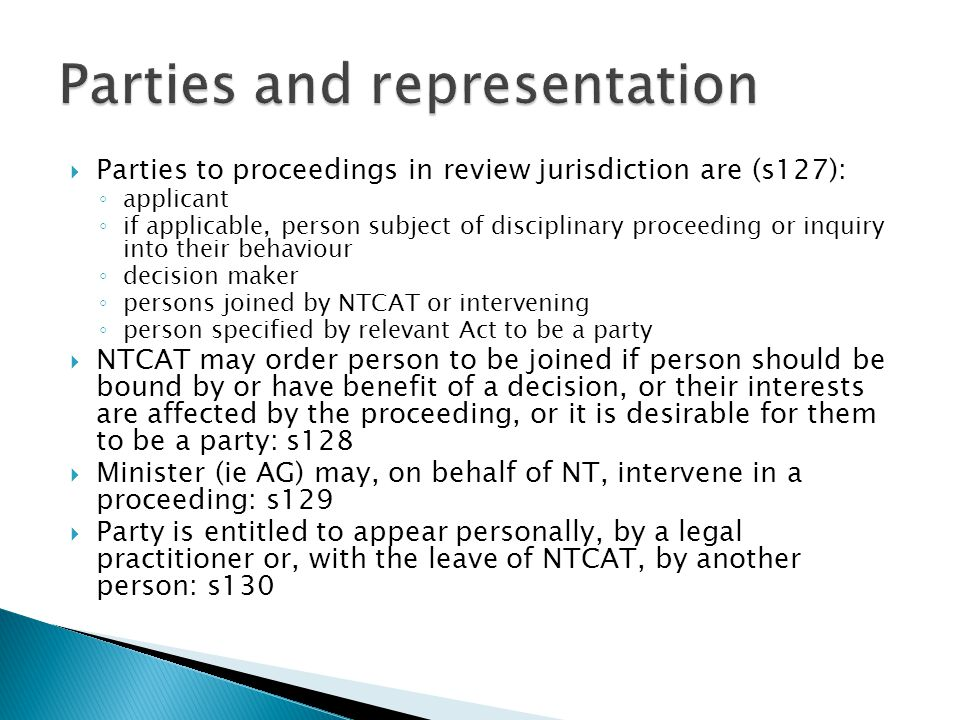 Parties and representation
