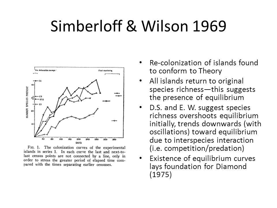 Simberloff & Wilson 1969 Re-colonization of islands found to conform to Theory.