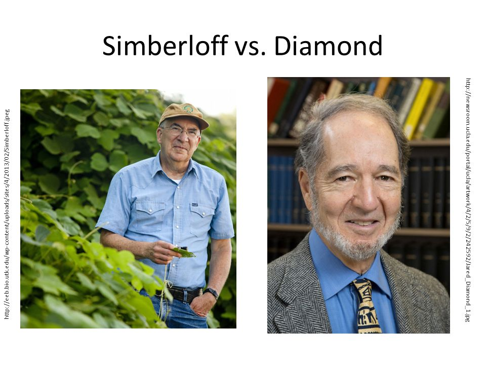 Simberloff vs. Diamond http://eeb.bio.utk.edu/wp-content/uploads/sites/4/2013/02/Simberloff.jpeg.
