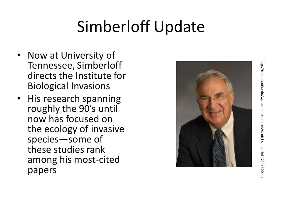 Simberloff Update Now at University of Tennessee, Simberloff directs the Institute for Biological Invasions.