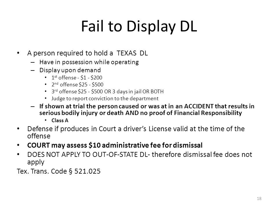 Fail to Display DL A person required to hold a TEXAS DL