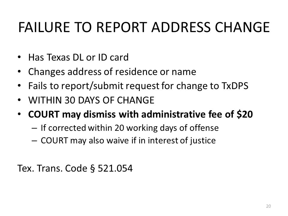 FAILURE TO REPORT ADDRESS CHANGE