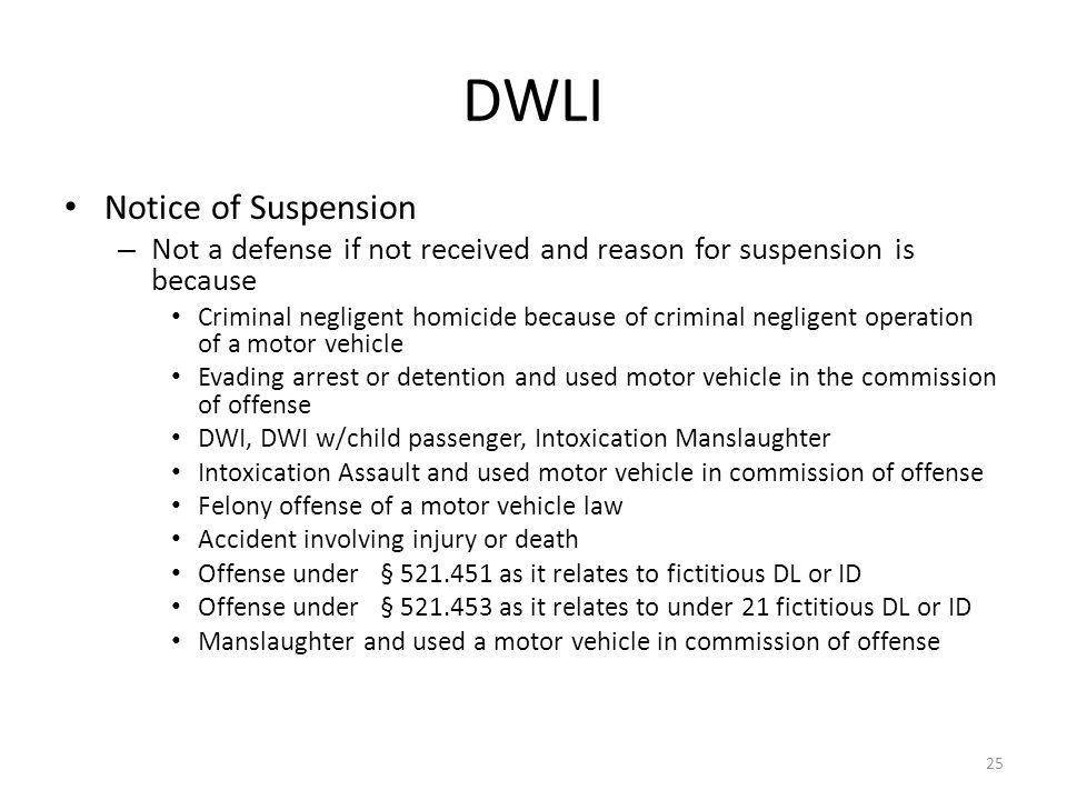 DWLI Notice of Suspension