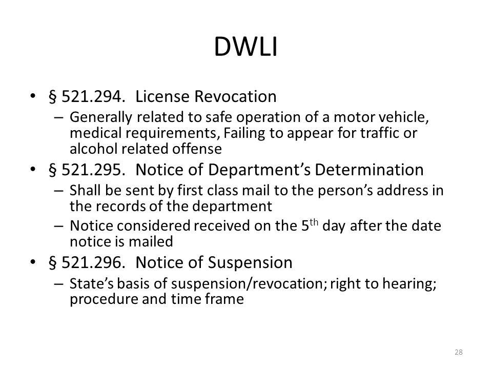 DWLI § 521.294. License Revocation