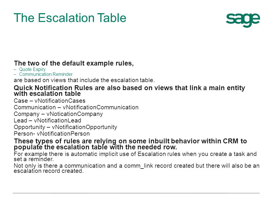 The Escalation Table The two of the default example rules,