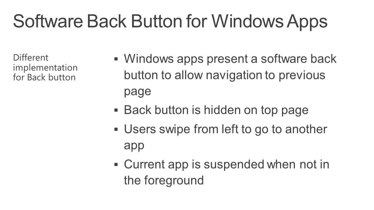Software Back Button for Windows Apps