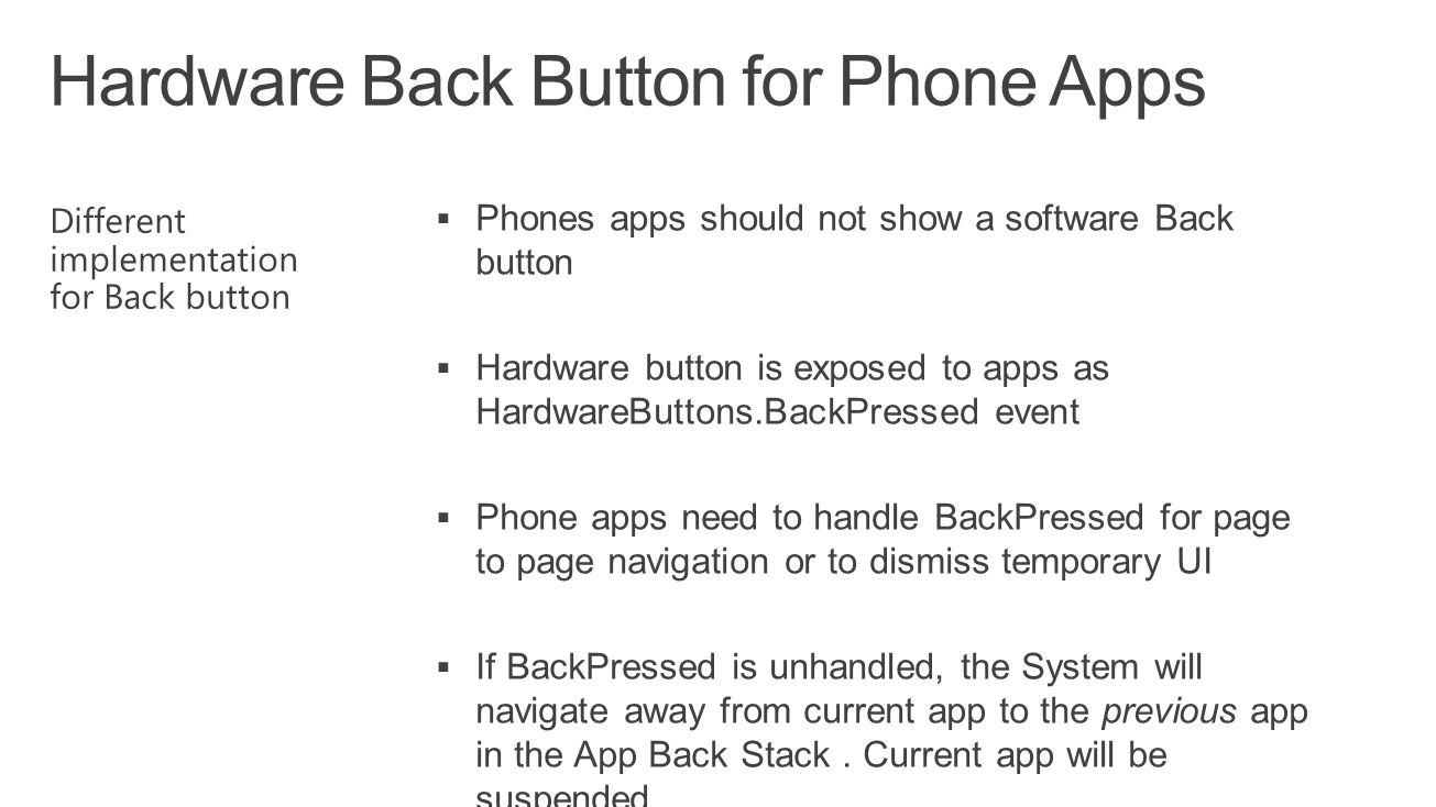 Hardware Back Button for Phone Apps