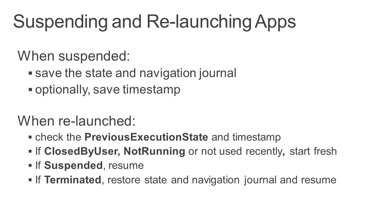 Suspending and Re-launching Apps