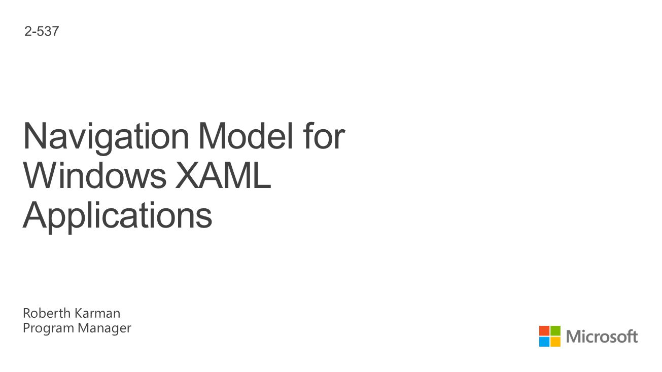 Navigation Model for Windows XAML Applications