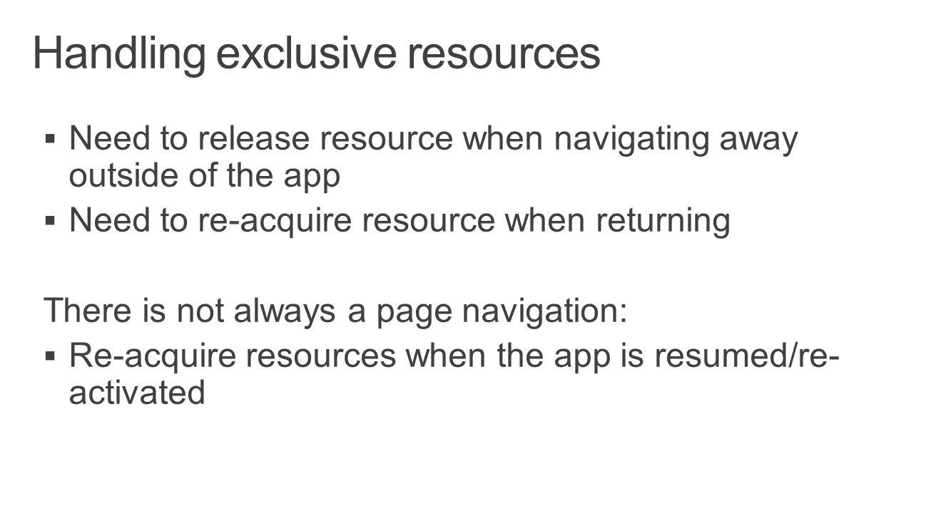 Handling exclusive resources