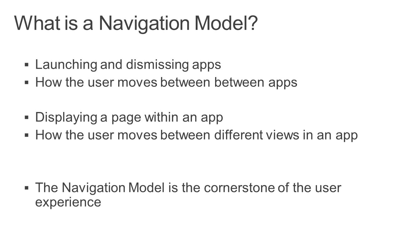 What is a Navigation Model