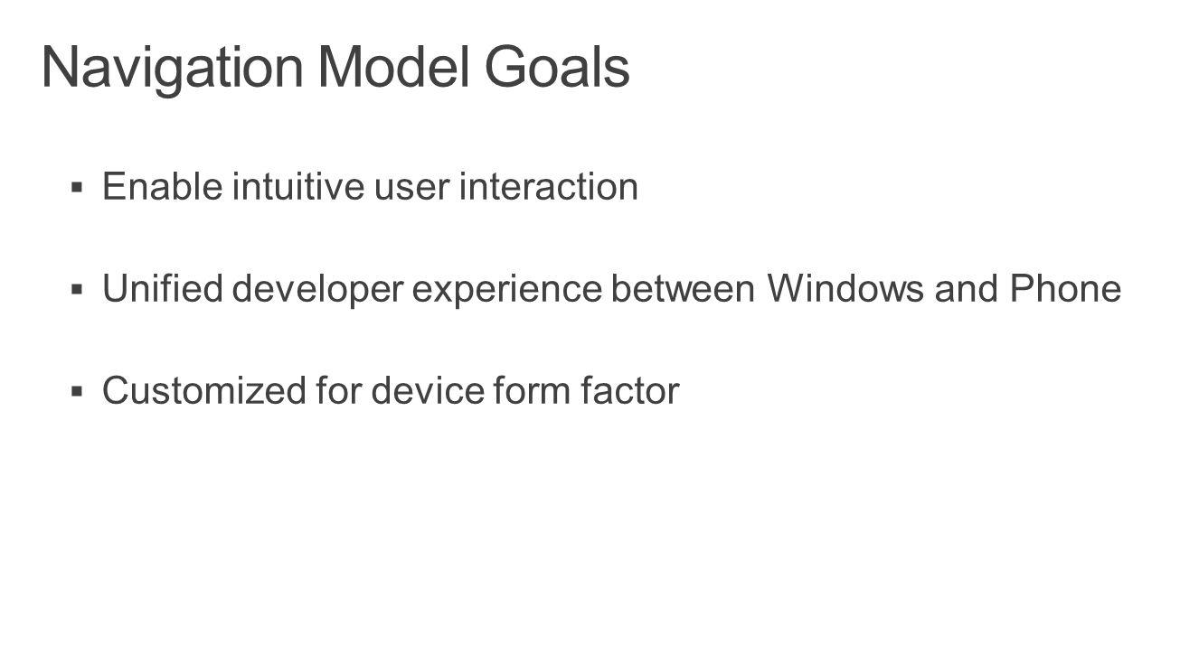 Navigation Model Goals