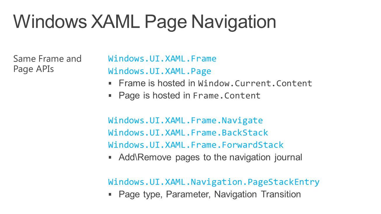 Windows XAML Page Navigation