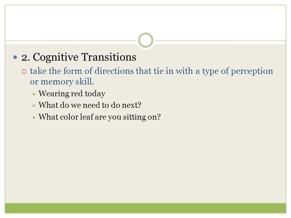 2. Cognitive Transitions