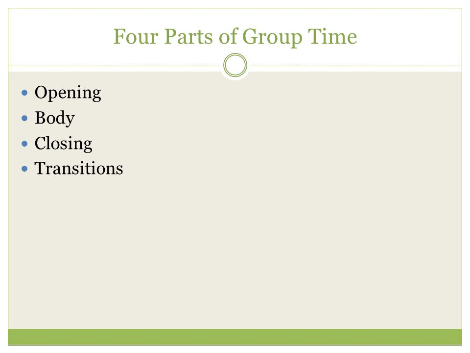 Four Parts of Group Time