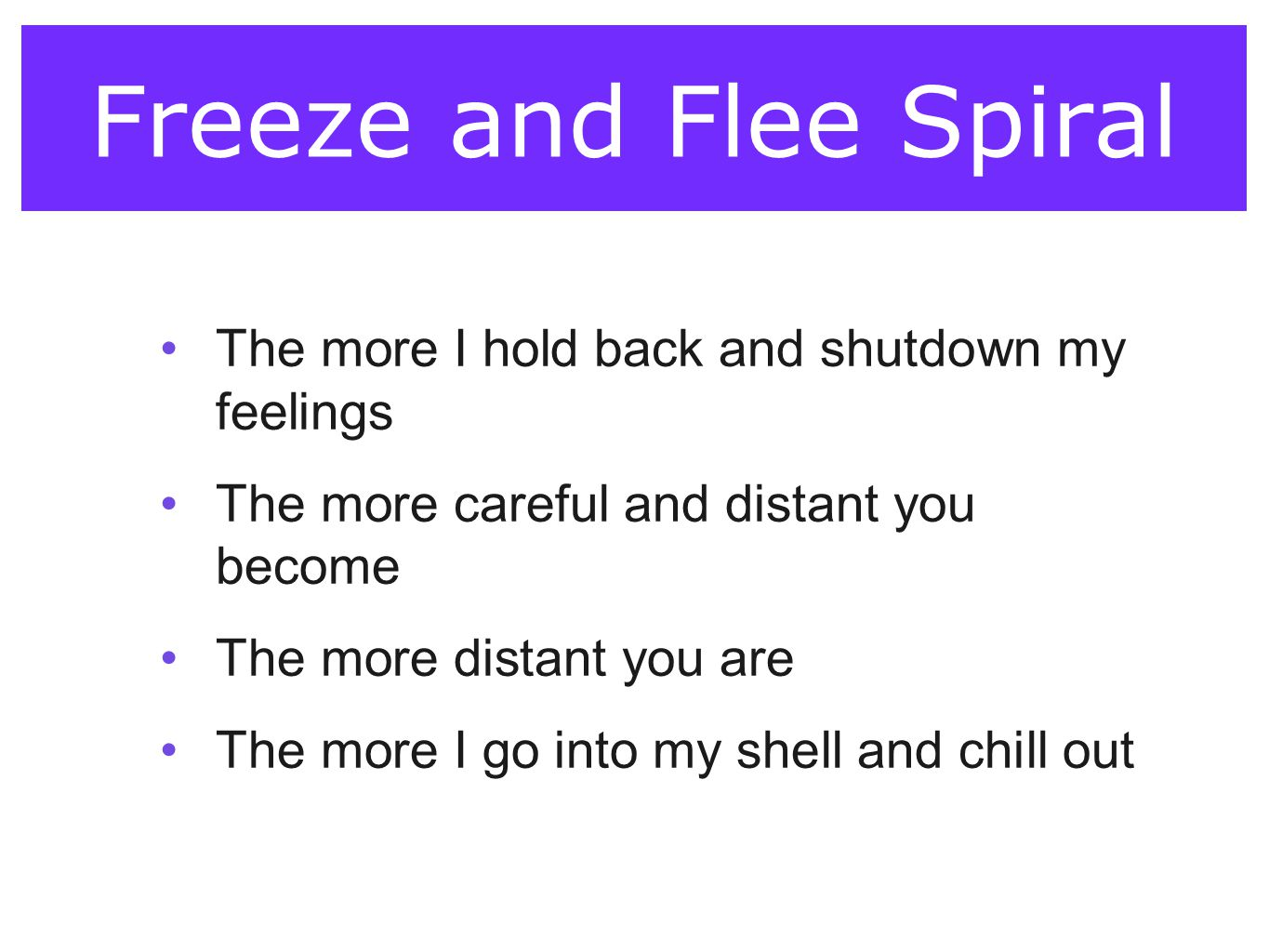 Freeze and Flee Spiral The more I hold back and shutdown my feelings