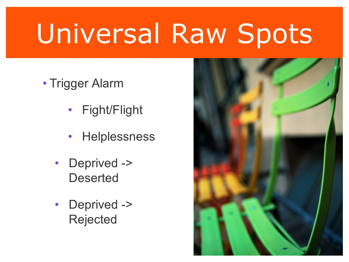 Universal Raw Spots Trigger Alarm Fight/Flight Helplessness