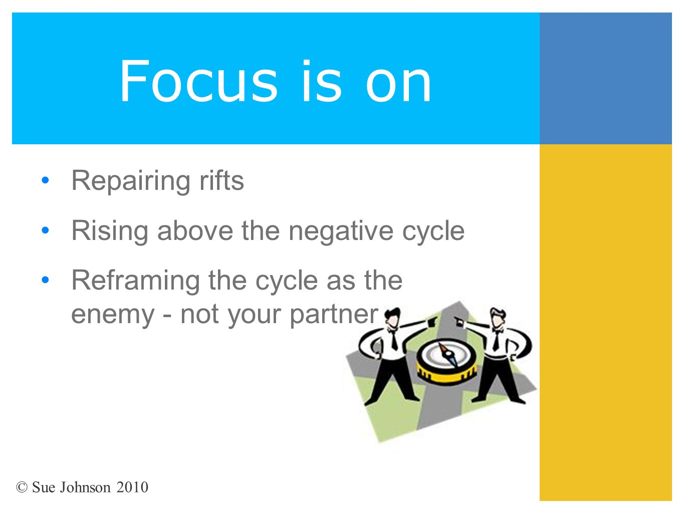 Focus is on Repairing rifts Rising above the negative cycle