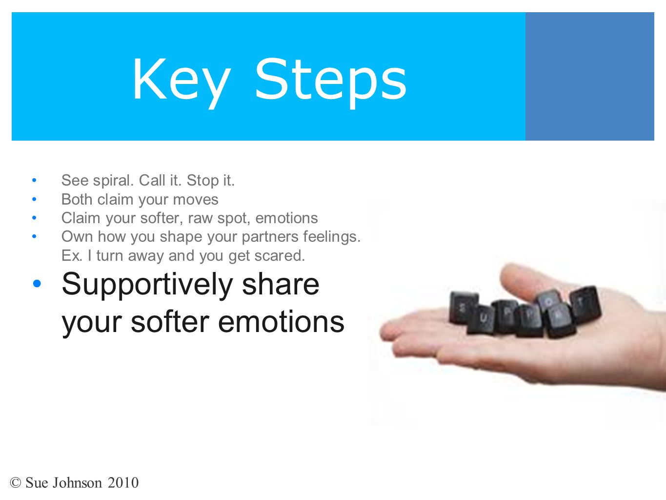 Key Steps Supportively share your softer emotions