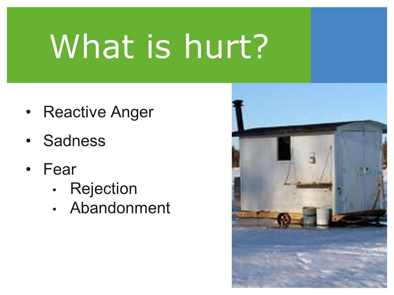 What is hurt Reactive Anger Sadness Fear Rejection Abandonment