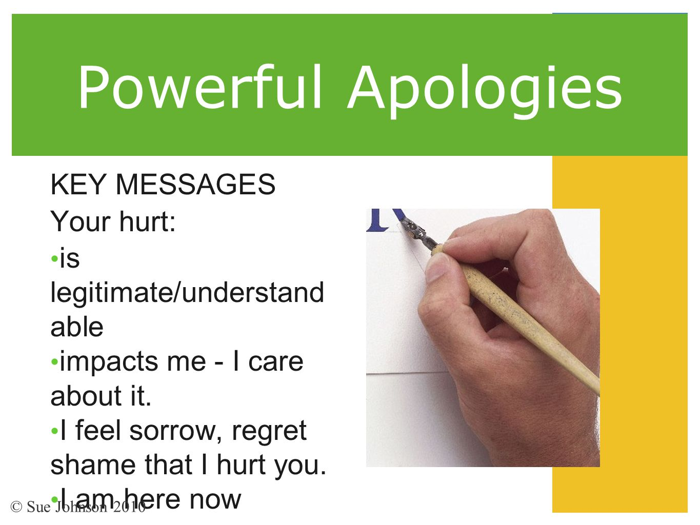 Powerful Apologies KEY MESSAGES Your hurt: